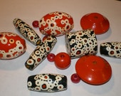 HAND PAINTED Wooden BEADS Vintage