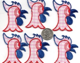 Lot of 6 - Vintage Silly CHIICKEN or ROOSTER Patches APPLIQUES - New Old Stock - nos Red Pink Blue