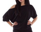 Oversized Off The Shoulder Top - Womens Cotton Fashion Shirt, womens off the shoulder shirt, off shoulder, one shoulder tshirt, xlarge shirt