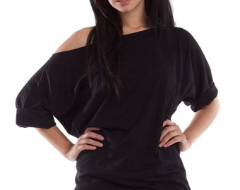 Off The Shoulder Top, oversized off shoulder tee, womens off the shoulder shirt, off the shoulder, one shoulder tshirt, xlarge shirt