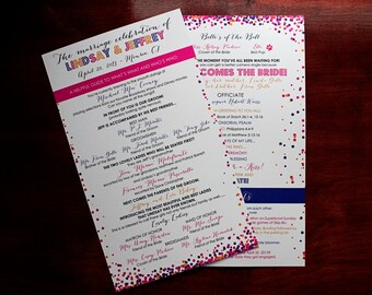 Wedding Program - Flat Double Sided Ceremony Program