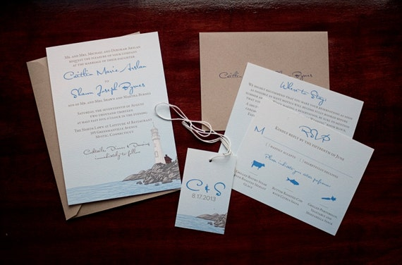 Wedding Invitations Portland Oregon: Nautical Lighthouse Seaside Wedding Invitation Sample By