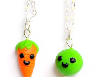 BFF Necklaces Pea and Carrot Best Friend Friendship Food Jewelry Necklaces, BFF Charms, BFF Necklaces