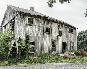Big Old Barn, Abandoned buildings, Rustic Ruins, Fine Art Color Photography, White, Gray, Mint Green, Signed Print