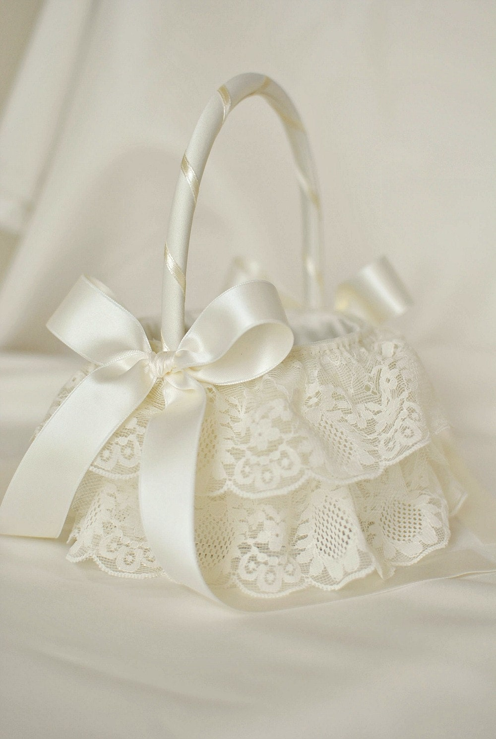 Flower Girl Basket Montreal : Ivory tulle and lace flower girl basket by
