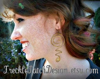 Shazam Earrings/ Brass Earrings/ Gold/  OOAK