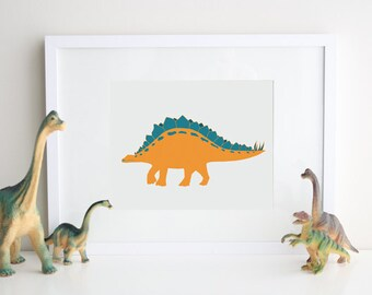Dinosaur nursery decor 8 x 10 Stegosaurus print - different colors and sizes available