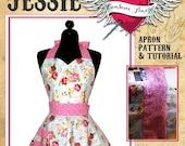 Retro Apron Pattern - Sweetheart Neckline Womens Apron Pattern - Vintage Apron Style Pattern - PDF Instant Download