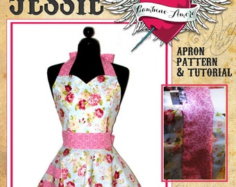 Retro Apron Pattern - Sweetheart Neckline Womens Apron Pattern - Vintage Apron Style Pattern - PDF Instant Download