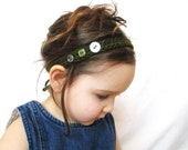 crochet headband with vintage buttons, dark forest green, adjustable to fit toddlers, children, and adults, ready to ship, natural fibers