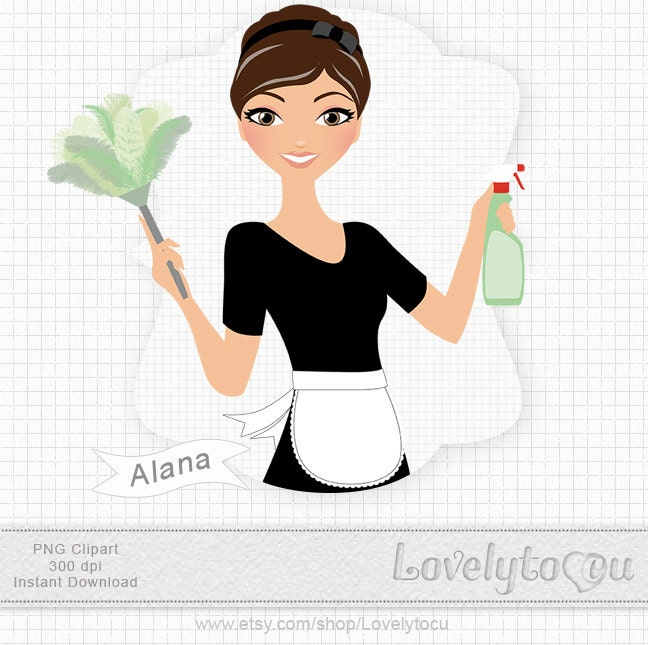 Vintage Cleaning Clip Art Woman cleaning, digital png