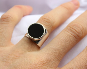 Black Onyx Geometric Ring, Sterling silver,  Made to order in your size, Black Round Stone ring