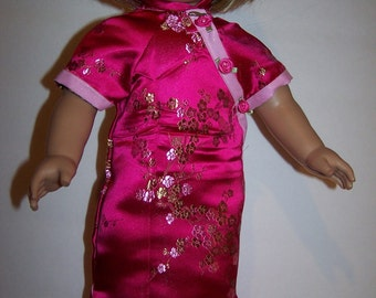 Oriental dress with satin slippers fits american girl doll