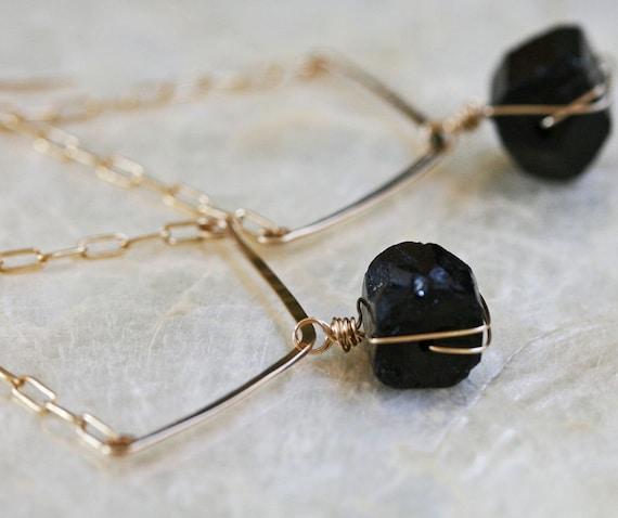 Gold Chevron Earrings - Raw Stone Earrings - Black Stone Earrings