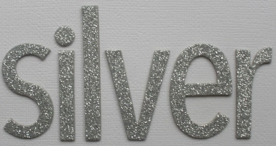 Silver Glitter Chipboard Alphabet Letters Lowercase Simple