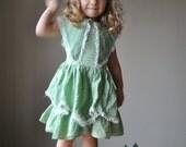 ON RESERVE.....1950s Moss Petal Dress, size 2t/3t/4t