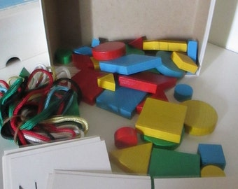 Vintage  1967 Box of Wood Blocks and Shapes, Colored Loops and Label Cards