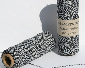 Black and White Bakers Twine - Black Bakers Twine - Scrapbooking Twine - Craft Supplies - 100 yards of 4 Ply Twine