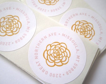 Round Return Address Stickers // Flowers, Floral, Spring, Rustic, White Labels, Gift for Her, Mother's Day Gift, Gift for Mom, Thank You