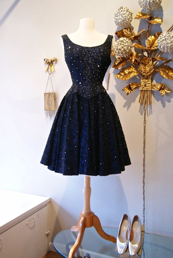 S dress vintage navy blue embroidered and crystal
