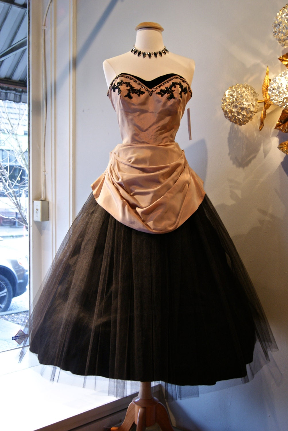 50s Party Dress Vintage 1950s Dusty Rose Taffeta And Black