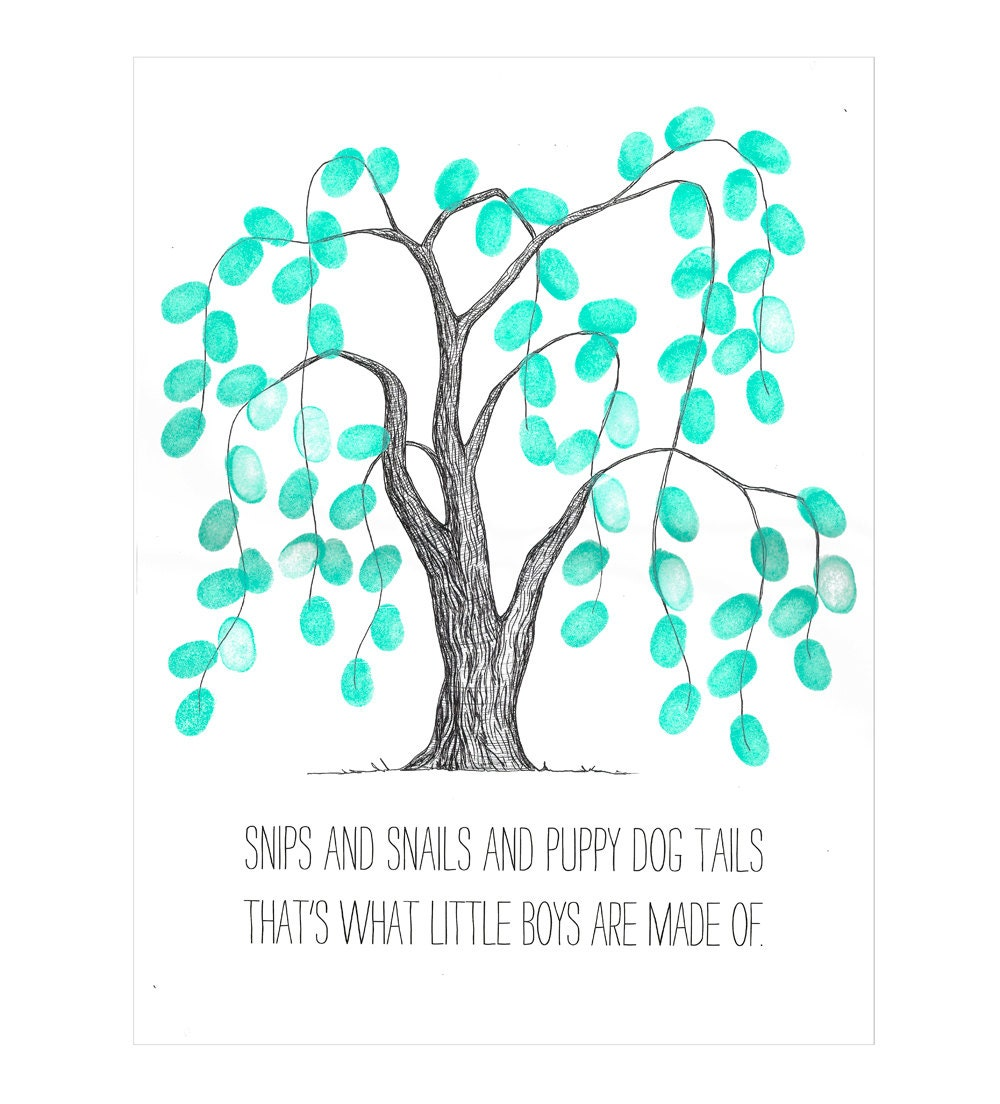 Weeping Willow Thumbprint Tree Guestbook Poster Baby Shower
