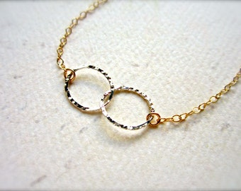 Infinity Mixed Bracelet - mixed metal infinity bracelet, circles bracelet, infinity bracelet, bridesmaid gift, B01/02/09