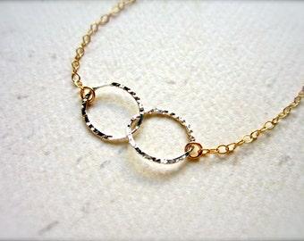 Infinity Mixed Bracelet - mixed metal infinity bracelet, delicate infinity jewelry, circles bracelet, infinity bracelet, bridesmaid gift B02
