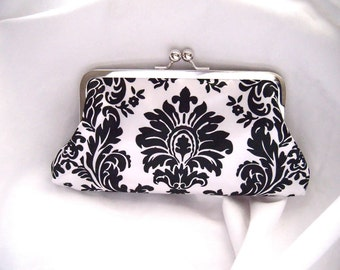 Bridesmaid Clutch - Damask - Satin Clutch - black and white wedding clutches - bridesmaids clutch sets - personalized bridesmaids gifts