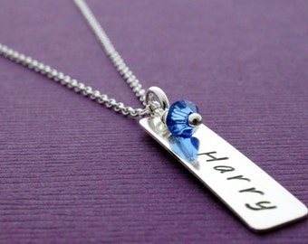 Personalized Name & Birthstone Necklace - One Baby Name in Sterling Silver - Hand Stamped, Engraved Mom Necklace by EWD