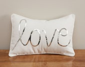 Silver Sequined Love Cushion - MaxandMeHomewares