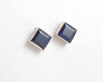 Dark blue sapphire earrings - Stud earrings - Bezel studs - Square studs - Blue studs - Birthstone - Gift for her