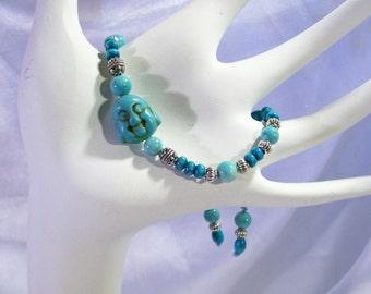 Mala Japa Tibetan Buddha Beautiful Turquoise Wood  Bracelet  Adjustable Or Elastic  Blue Fossil Beads