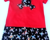 STORE CLOSING Sale 50% Off - Ready to Ship - Little Blaggards - Pirates Skulls Boys Appliqued Shirt and Short Set