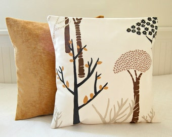 brown trees leaves gold cream cushion cover, 16 inch decorative pillow cover