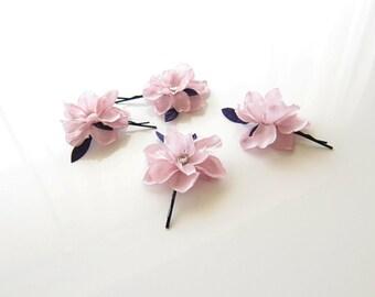 Lilac Flower Hair Pins - set of 4 -  Wedding Hair Accessories, Small Hair Flowers
