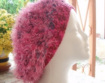 Pretty in Pink Sprinkled With Blue Crocheted Slouchy Hat with Ear Warmer Band