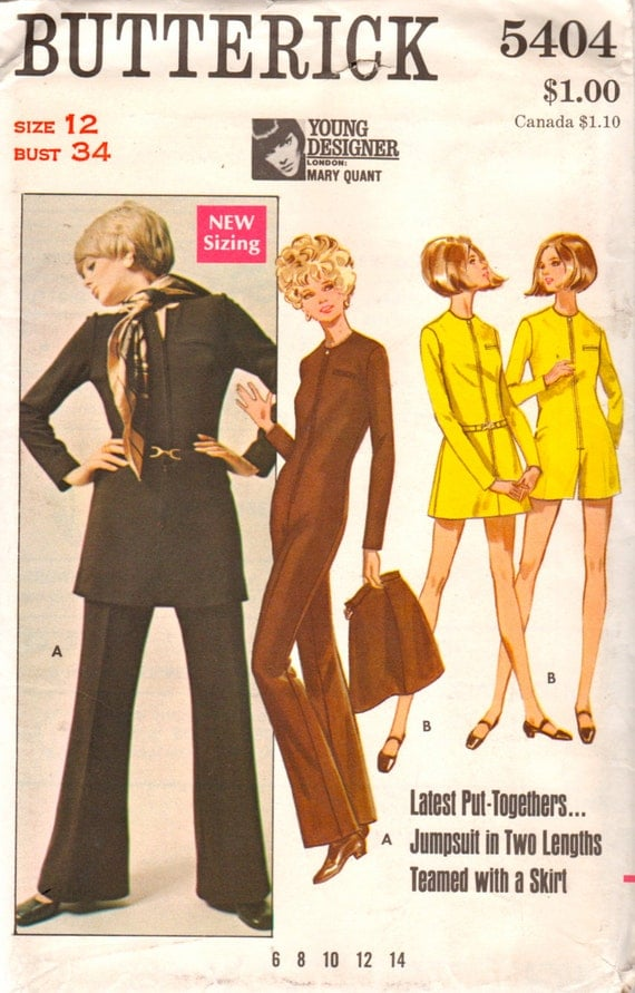 1960s jumpsuit pattern by Mary Quant - Butterick 5404