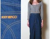 1970s high waist DENIM skirt by Body Lingo, s-m
