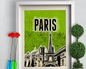 Print Paris Poster eiffel tower  Birthday Gift art print Cityscape city skyline print Paris map canvas Wall Decor typography print