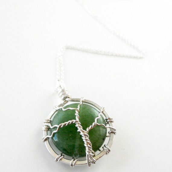 Green Jade Fountain of Youth Tree of Life Necklace - Sterling Silver - Stone - 925