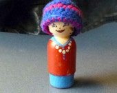 Miniature Doll's Stocking Cap Hat Toque in Blue and Red