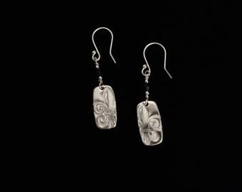 Fleur de Lis' Earrings - Fine Silver Earrings - Handmade Artisan Jewelry with Sterling Silver Ear Wires - ME Designs