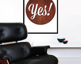 Typography poster print inspirational quote retro graphic design mid century modern kitchen art office - Yes 50 x 70 cm