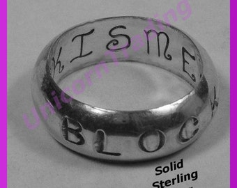 Heavy  Sterling Silver Band 1 of 8 Patterns   Three Fonts  Three Finishes