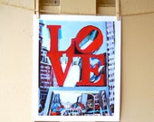 Philadelphia Cityscape Art Print from Painting,  LOVE Park, red blue Urban Fine Art  by Gwen Meyerson