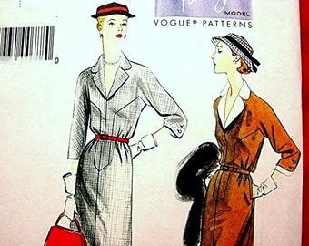 Retro Vogue Pattern 1950s Dress Pattern Misses size 6 8 10 12 14 UNCUT Dress with belt and detachable collar