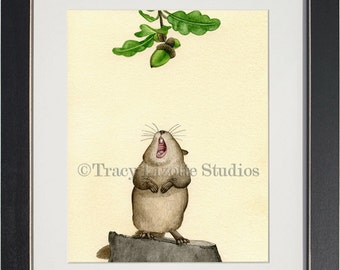 Yummy Acorn - archival watercolor print by Tracy Lizotte