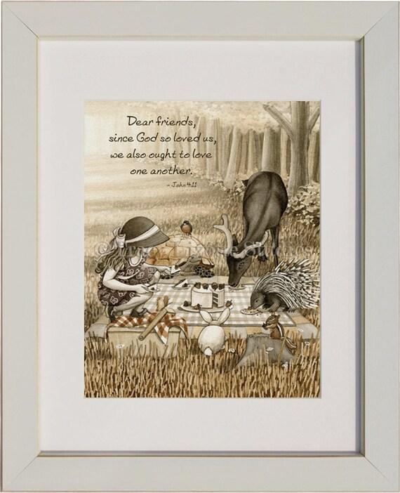 Picnic Celebration - archival watercolor print by Tracy Lizotte