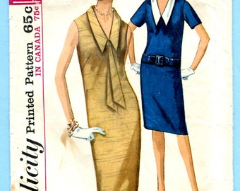 Simplicity 5410 Dress Detachable Collar Vintage 60s Sewing Pattern Misses Size 10  Bust 31